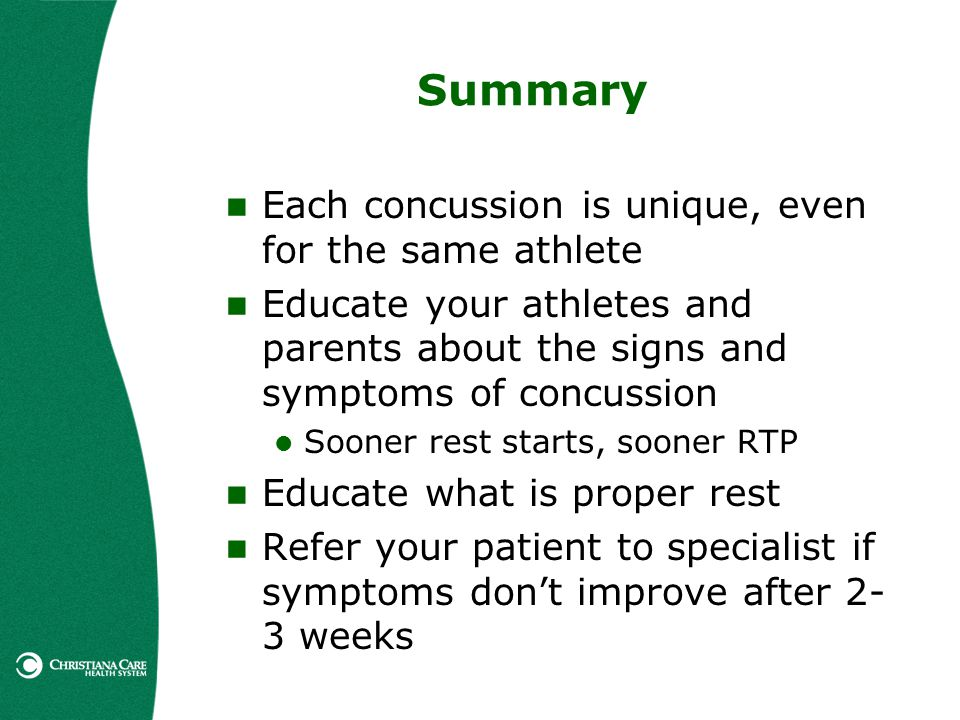 Summary Each concussion is unique, even for the same athlete
