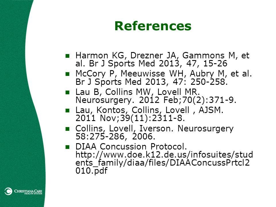 References Harmon KG, Drezner JA, Gammons M, et al. Br J Sports Med 2013, 47, 15-26.