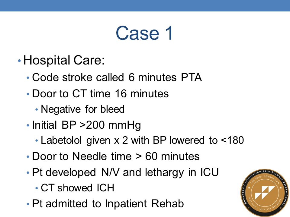 Case 1 Hospital Care: Code stroke called 6 minutes PTA