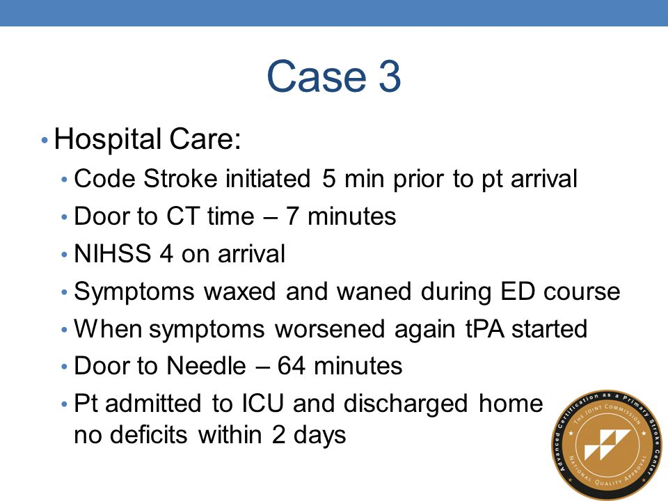 Case 3 Hospital Care: Code Stroke initiated 5 min prior to pt arrival