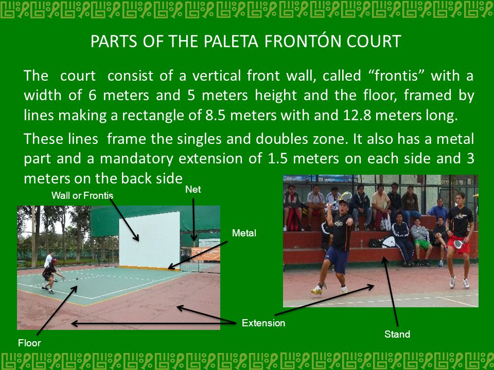 PARTS OF THE PALETA FRONTÓN COURT