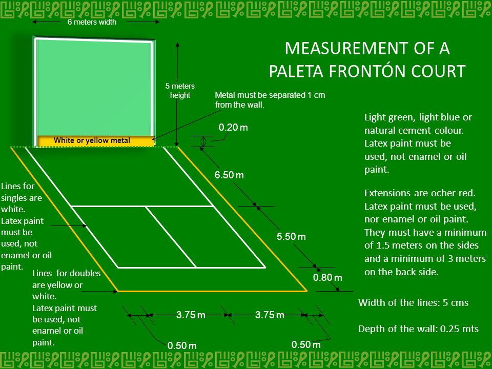 MEASUREMENT OF A PALETA FRONTÓN COURT