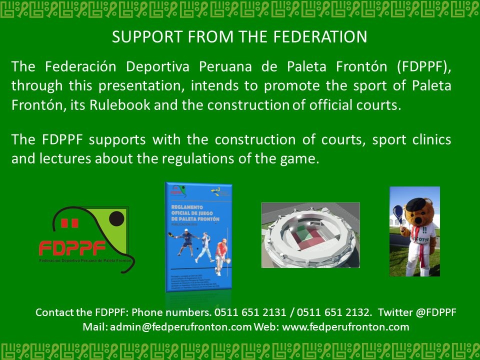 SUPPORT FROM THE FEDERATION