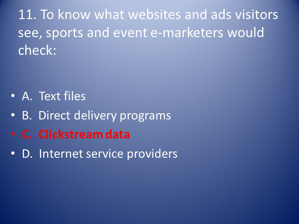 11. To know what websites and ads visitors see, sports and event e-marketers would check: