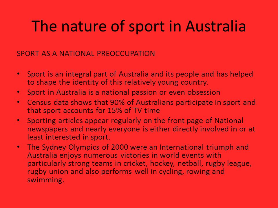 The nature of sport in Australia