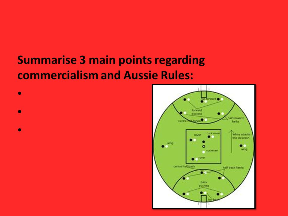 Summarise 3 main points regarding commercialism and Aussie Rules: