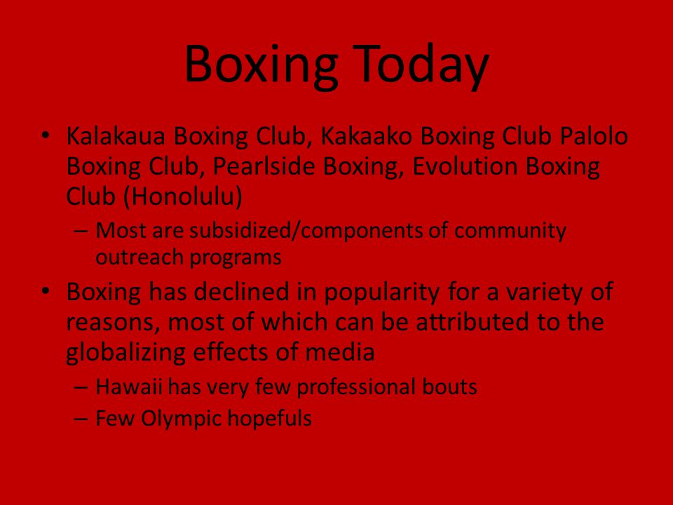 Boxing Today Kalakaua Boxing Club, Kakaako Boxing Club Palolo Boxing Club, Pearlside Boxing, Evolution Boxing Club (Honolulu)