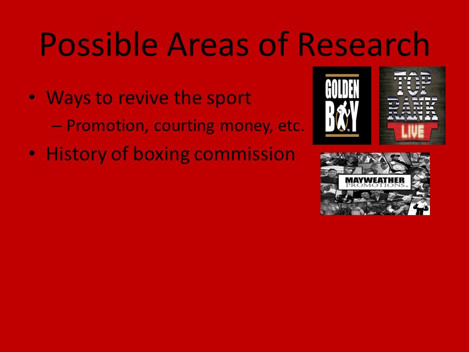 Possible Areas of Research
