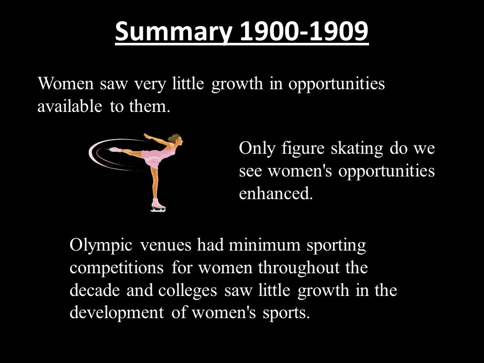 Summary 1900-1909 Women saw very little growth in opportunities available to them. Only figure skating do we see women s opportunities enhanced.