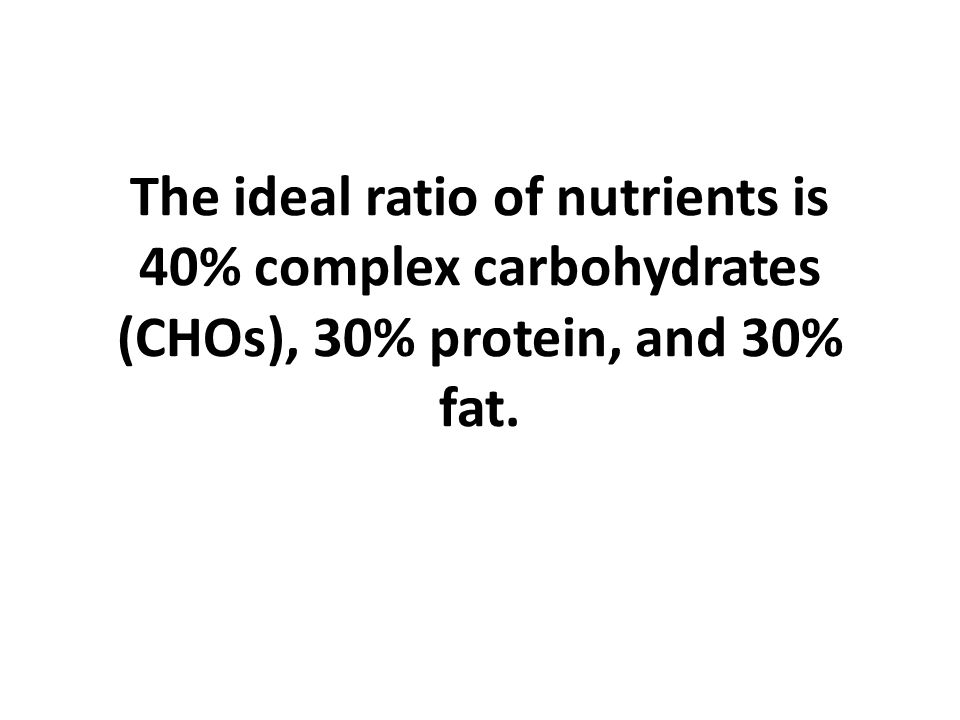 The ideal ratio of nutrients is 40% complex carbohydrates (CHOs), 30% protein, and 30% fat.