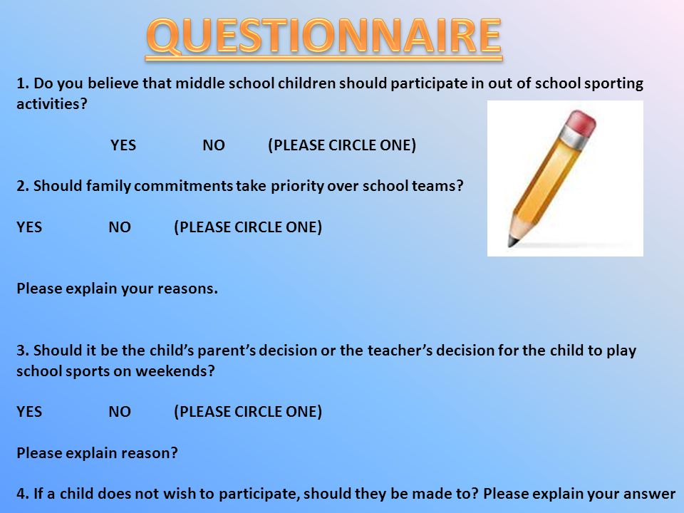 QUESTIONNAIRE 1. Do you believe that middle school children should participate in out of school sporting activities