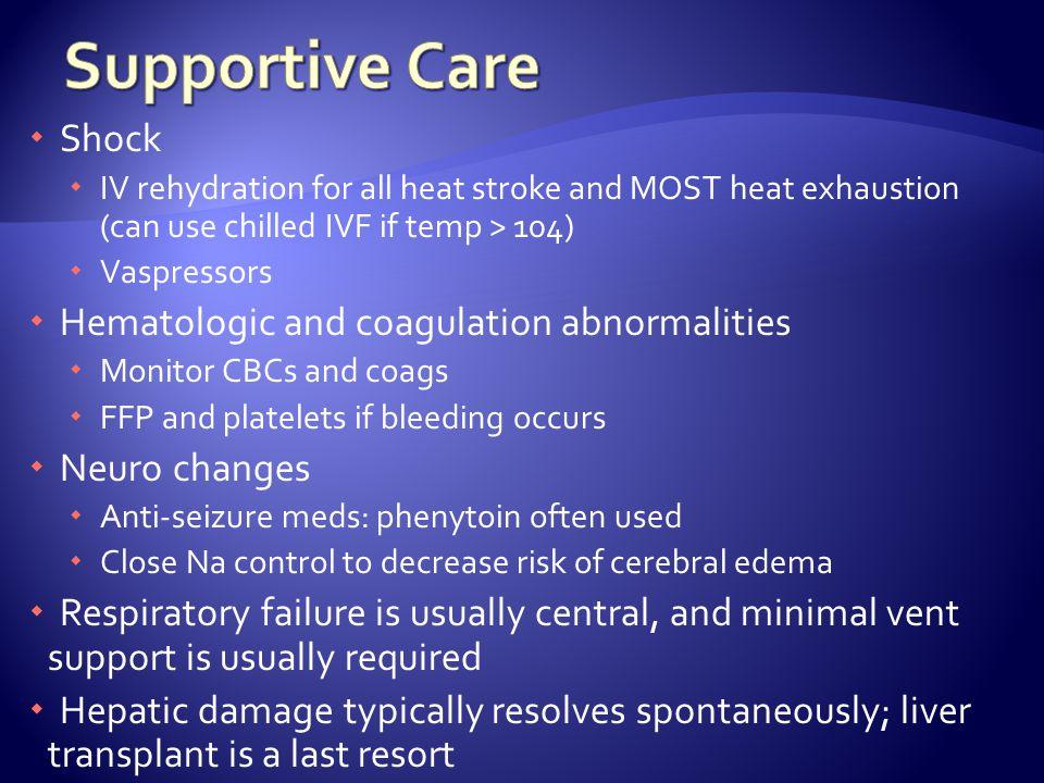 Supportive Care Shock Hematologic and coagulation abnormalities