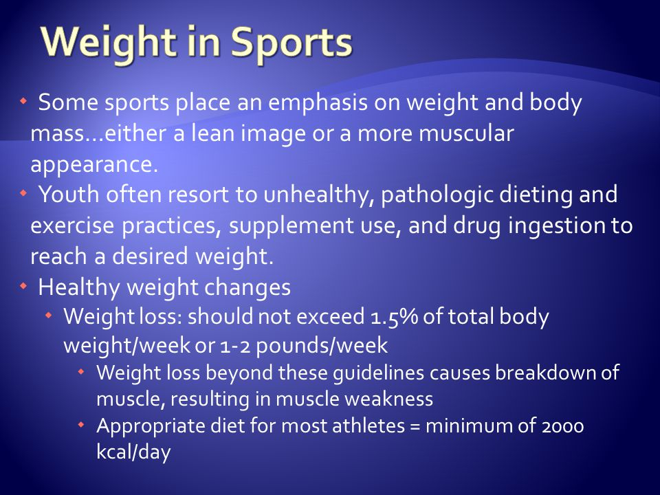Weight in Sports Some sports place an emphasis on weight and body mass…either a lean image or a more muscular appearance.