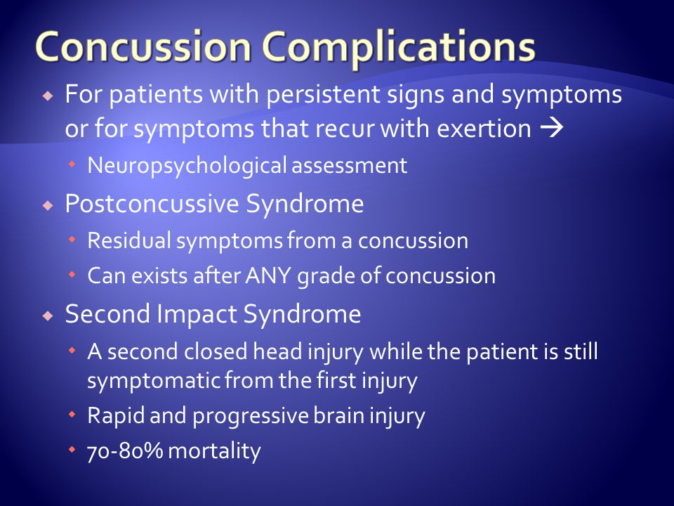 Concussion Complications