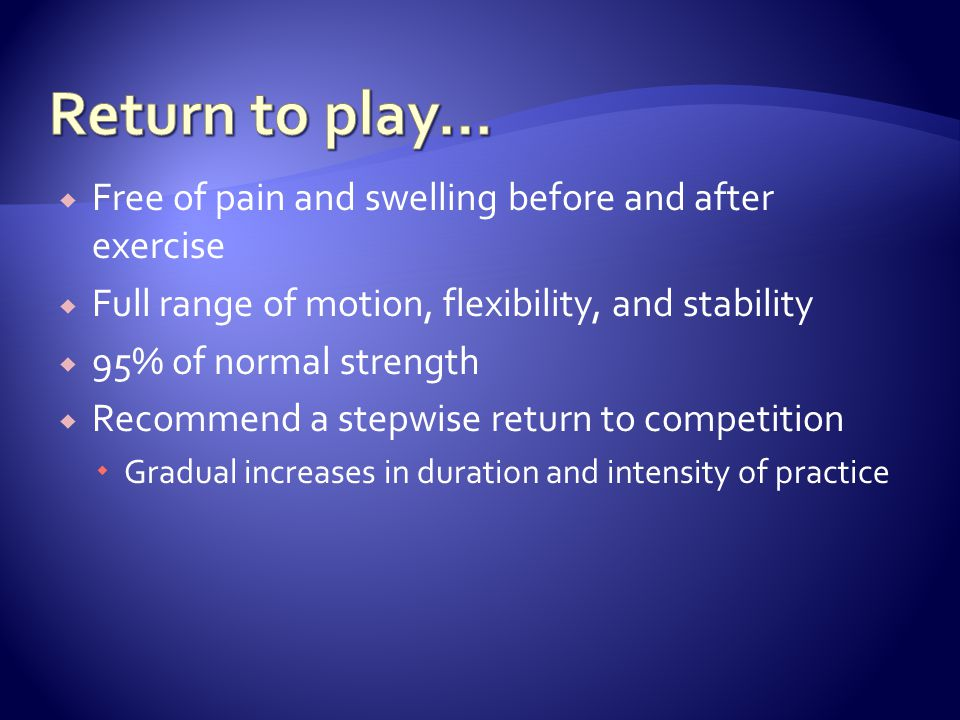 Return to play… Free of pain and swelling before and after exercise