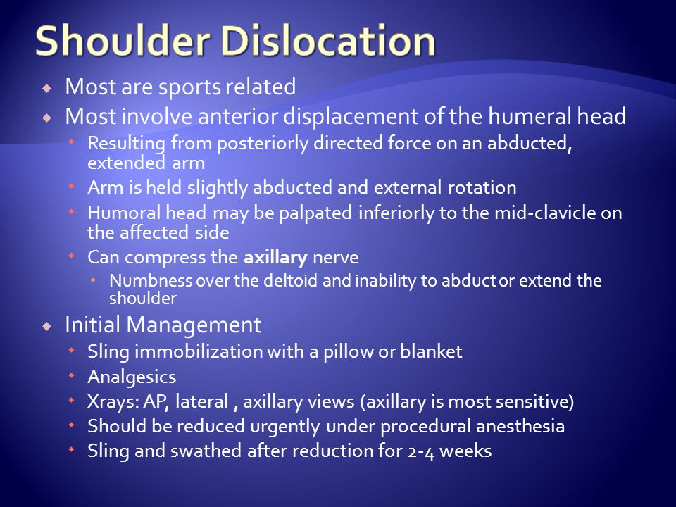 Shoulder Dislocation Most are sports related