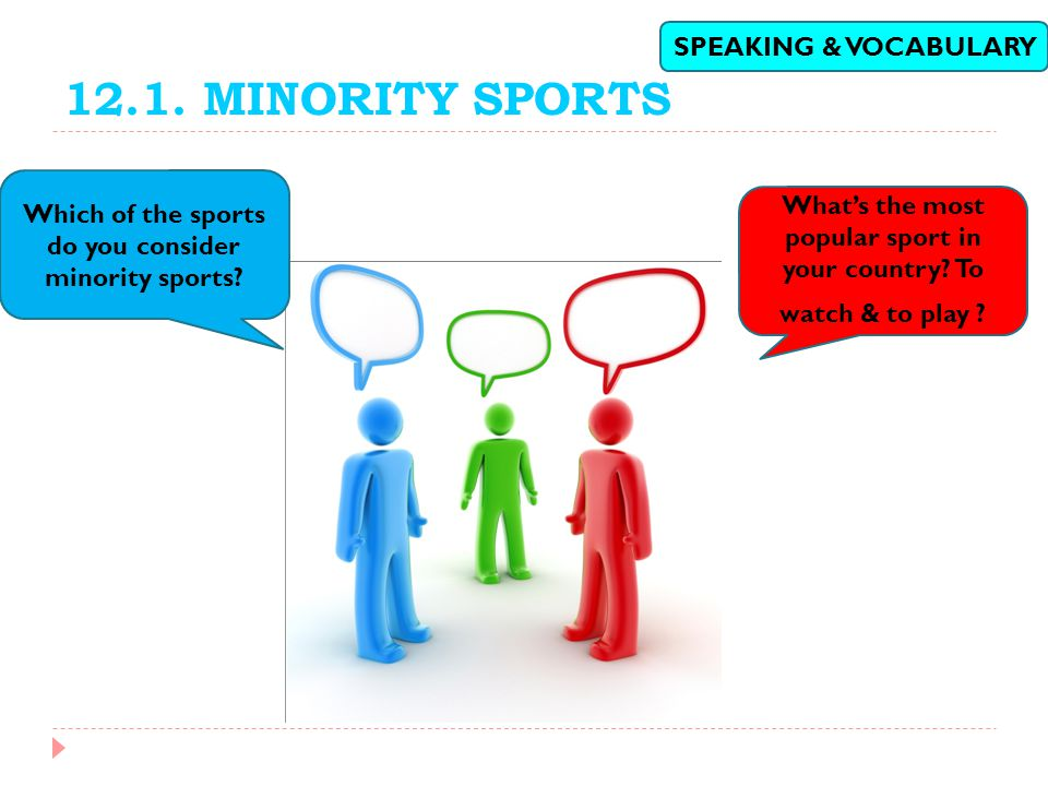 12.1. MINORITY SPORTS SPEAKING & VOCABULARY