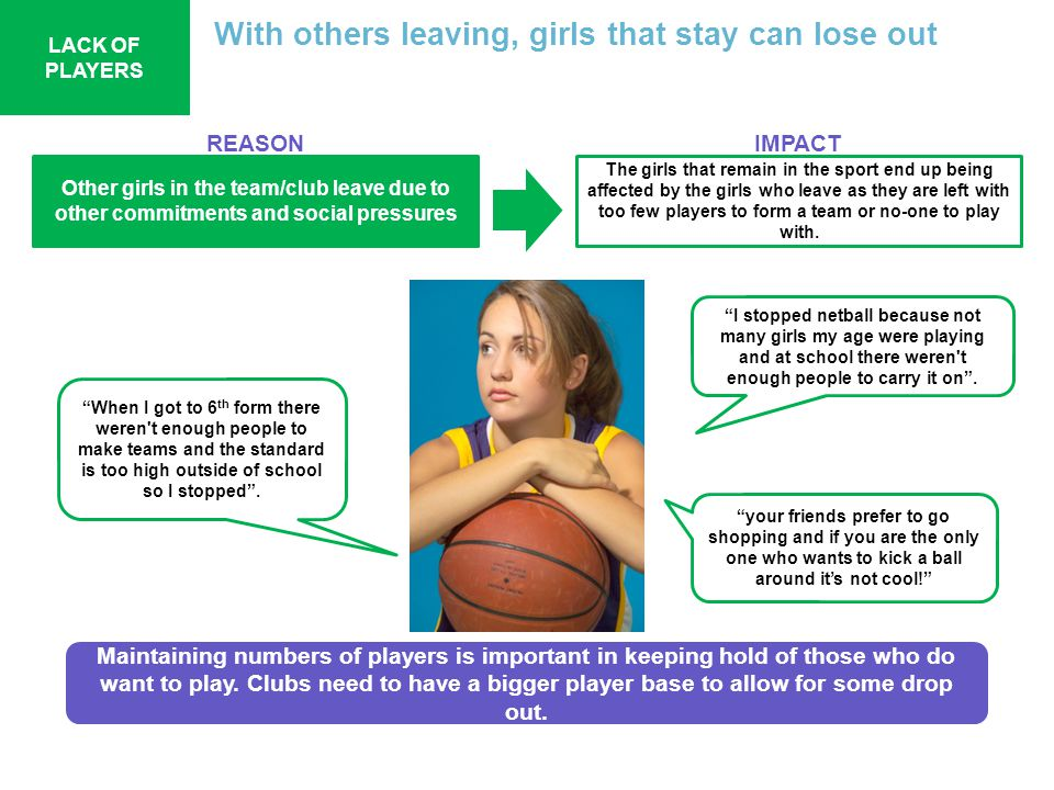 With others leaving, girls that stay can lose out