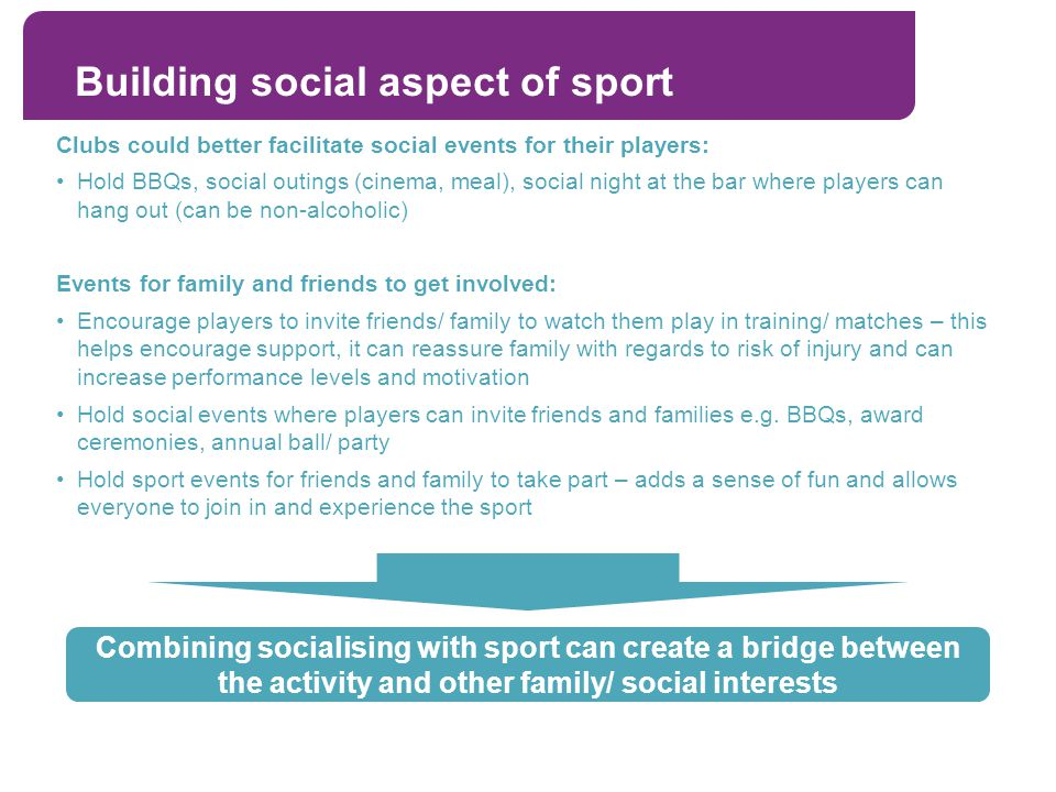 Building social aspect of sport