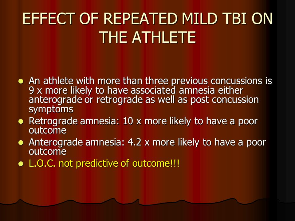 EFFECT OF REPEATED MILD TBI ON THE ATHLETE