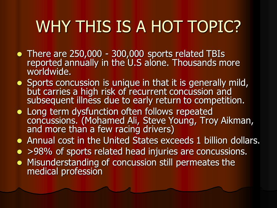 WHY THIS IS A HOT TOPIC There are 250,000 - 300,000 sports related TBIs reported annually in the U.S alone. Thousands more worldwide.