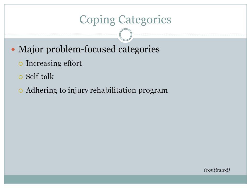Coping Categories Major problem-focused categories Increasing effort