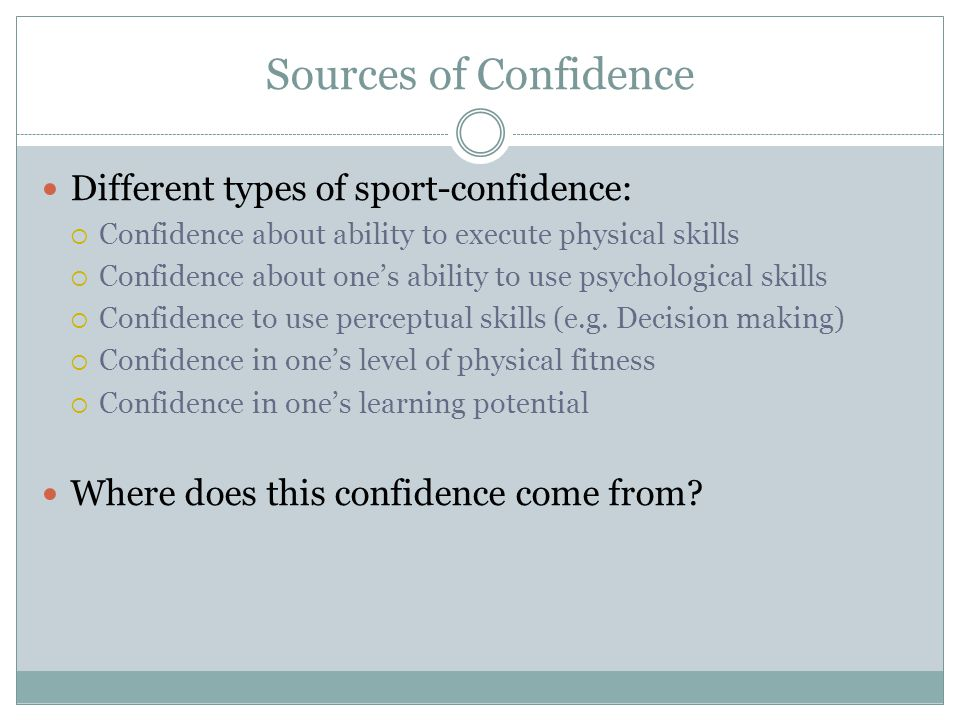 Sources of Confidence Different types of sport-confidence: