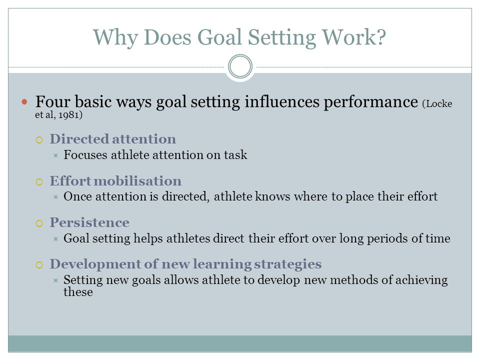 Why Does Goal Setting Work
