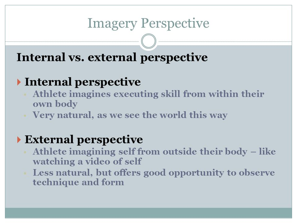 Imagery Perspective Internal vs. external perspective