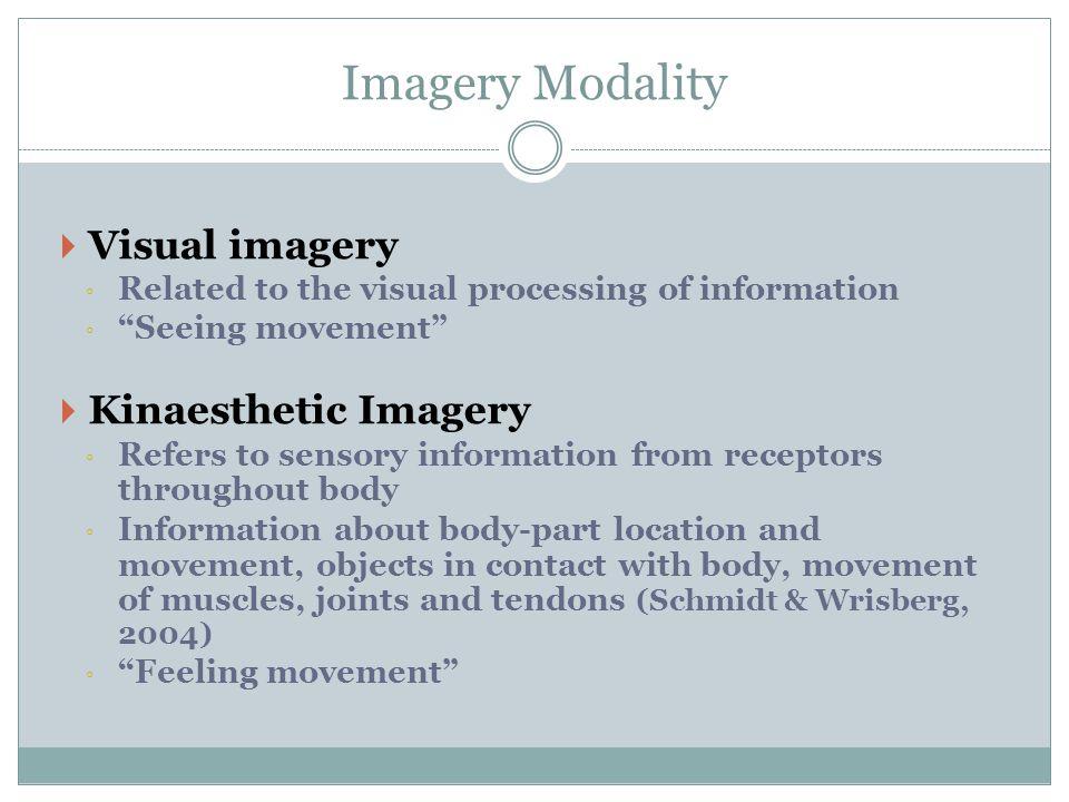 Imagery Modality Visual imagery Kinaesthetic Imagery
