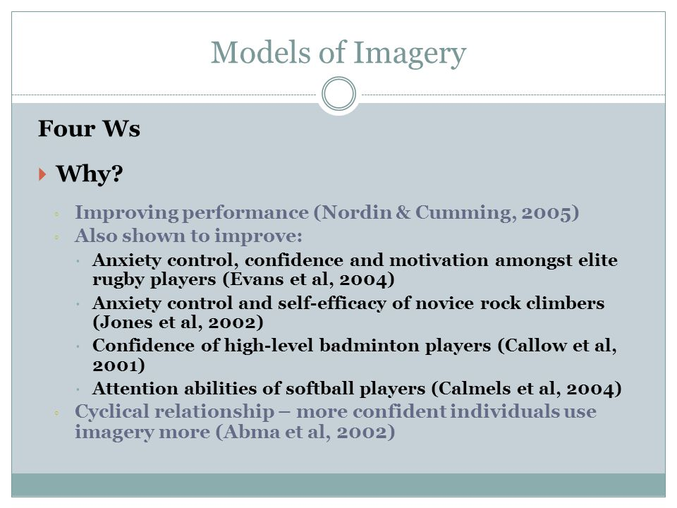 Models of Imagery Four Ws Why