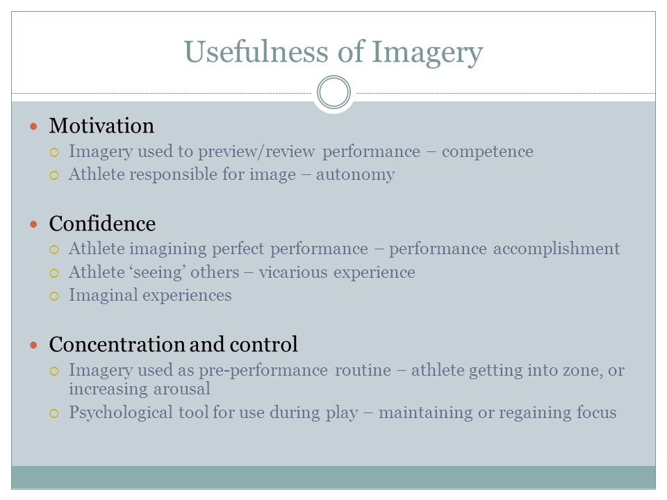 Usefulness of Imagery Motivation Confidence Concentration and control