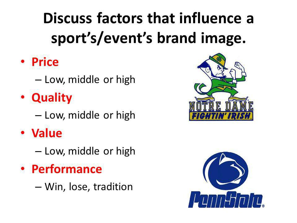 Discuss factors that influence a sport's/event's brand image.