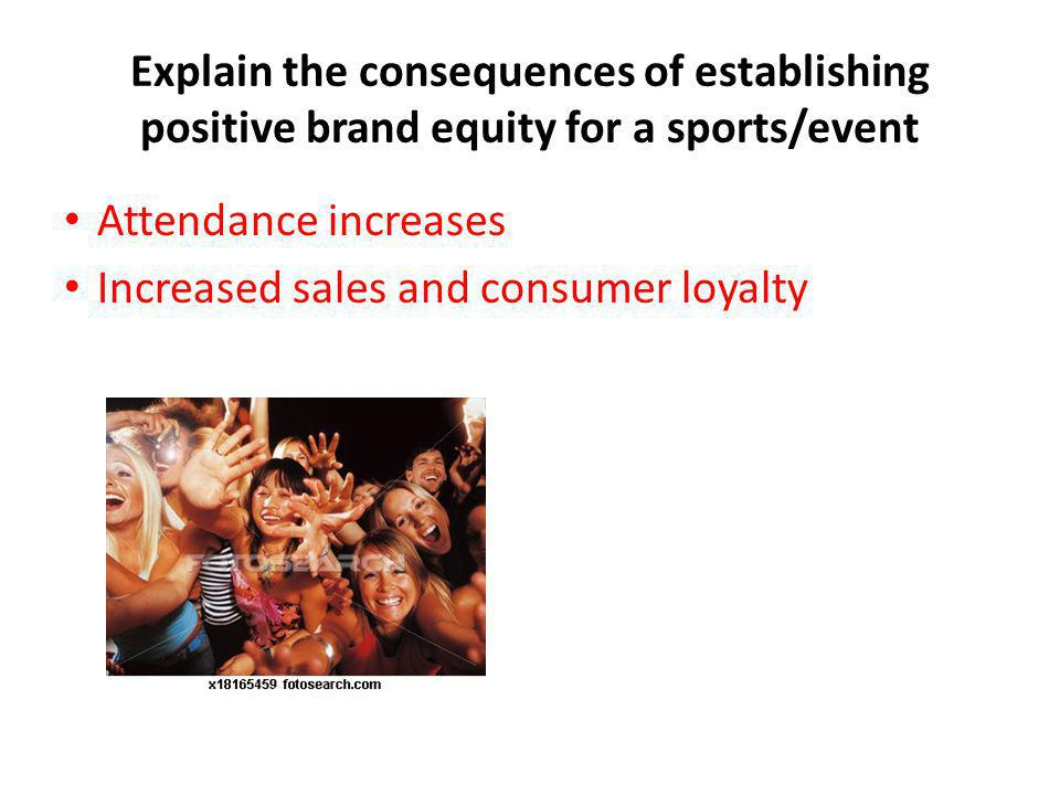 Explain the consequences of establishing positive brand equity for a sports/event