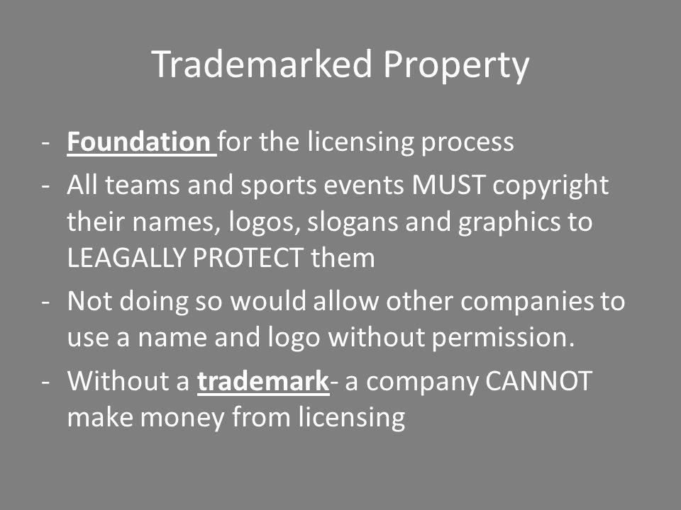 Trademarked Property Foundation for the licensing process