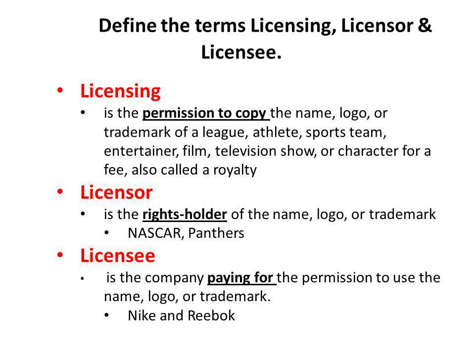 Define the terms Licensing, Licensor & Licensee.