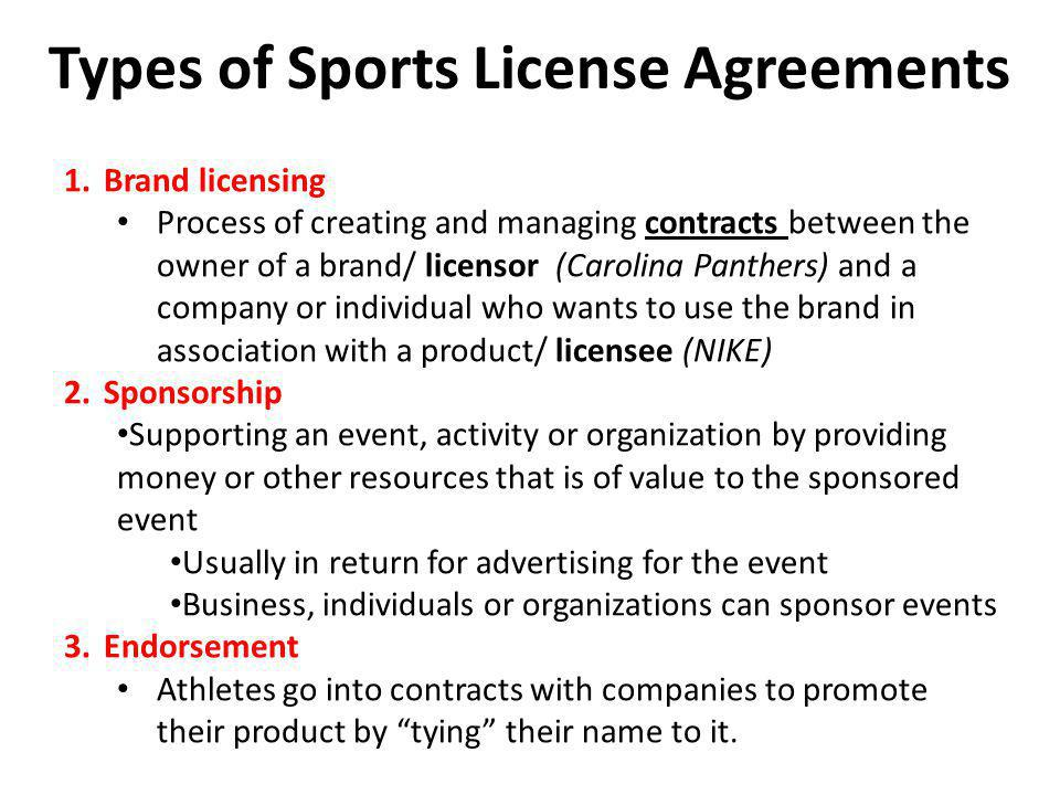 Types of Sports License Agreements