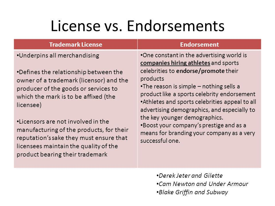 License vs. Endorsements
