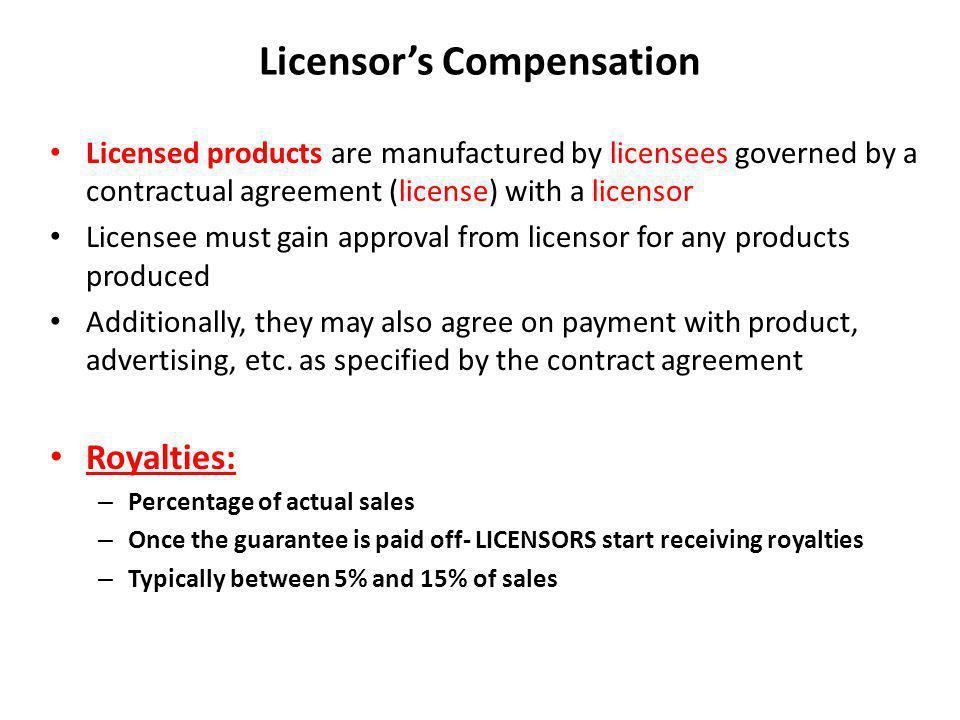 Licensor's Compensation