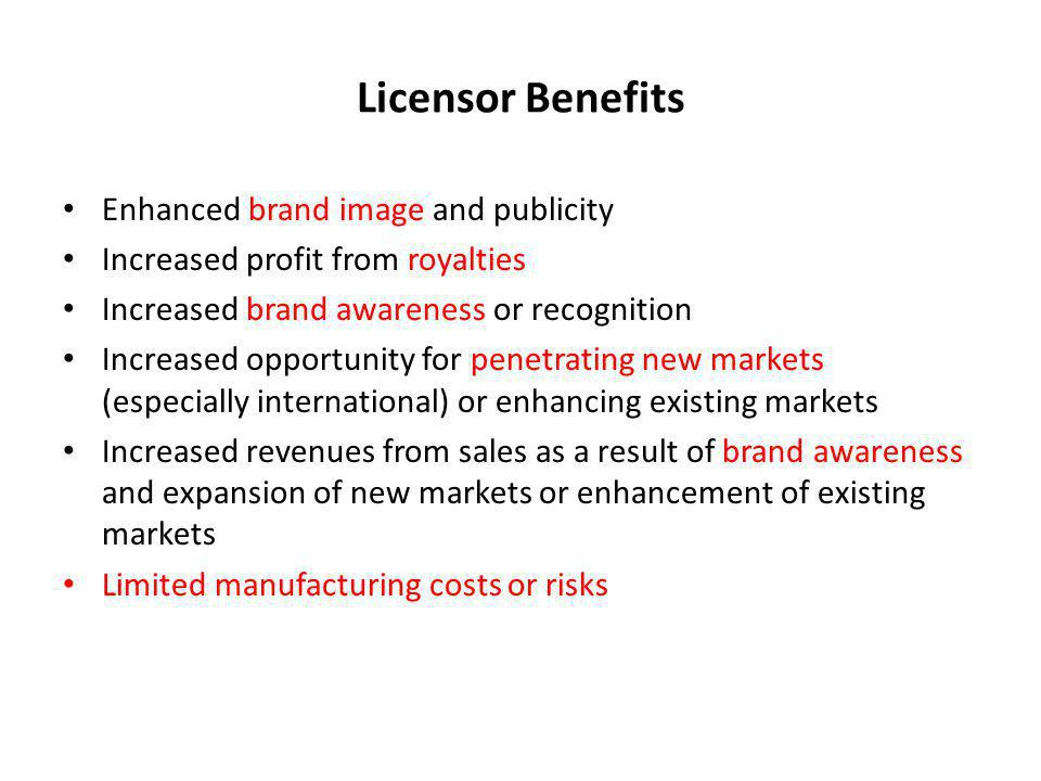 Licensor Benefits Enhanced brand image and publicity