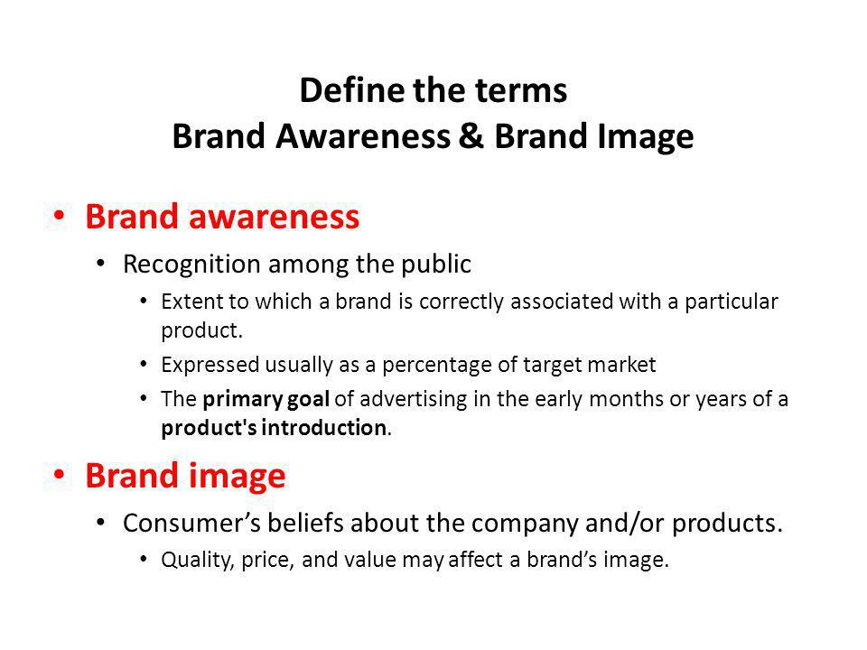 Define the terms Brand Awareness & Brand Image