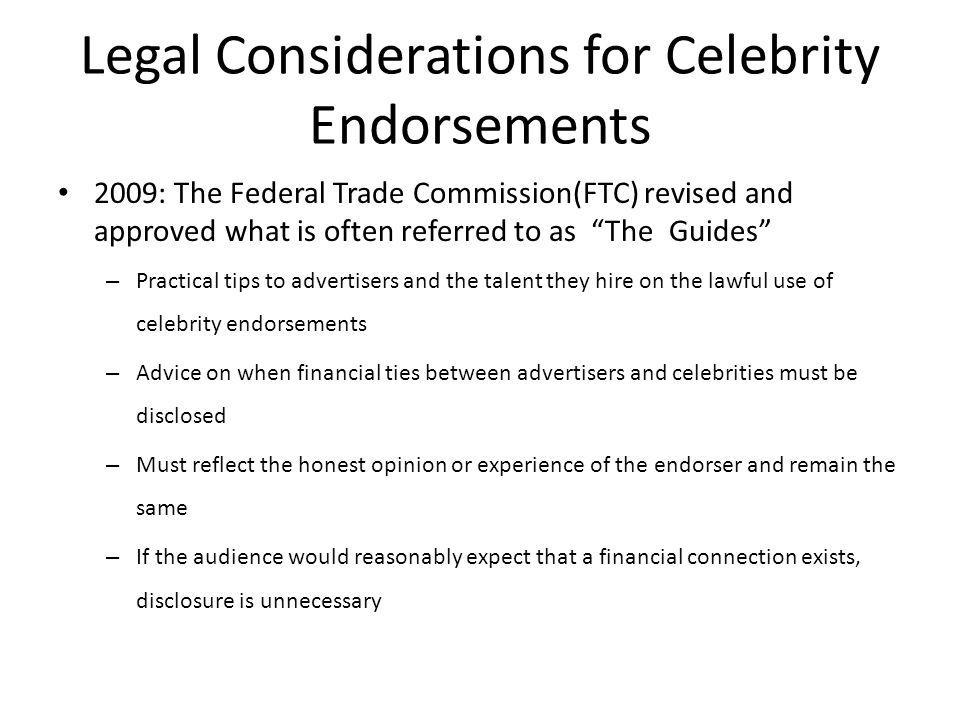 Legal Considerations for Celebrity Endorsements