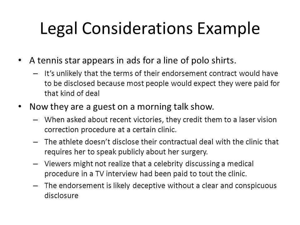 Legal Considerations Example