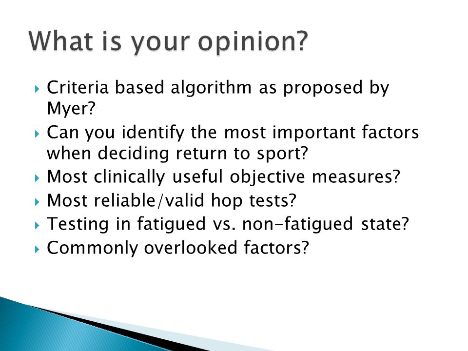 What is your opinion Criteria based algorithm as proposed by Myer