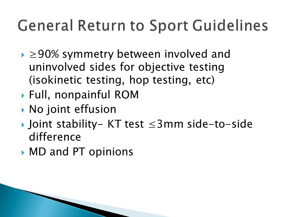 General Return to Sport Guidelines