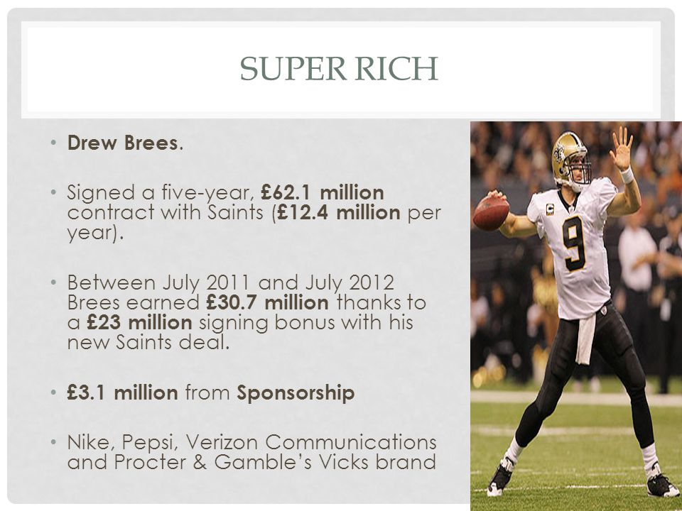 Super Rich Drew Brees. Signed a five-year, £62.1 million contract with Saints (£12.4 million per year).