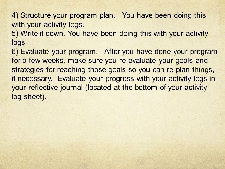 4) Structure your program plan
