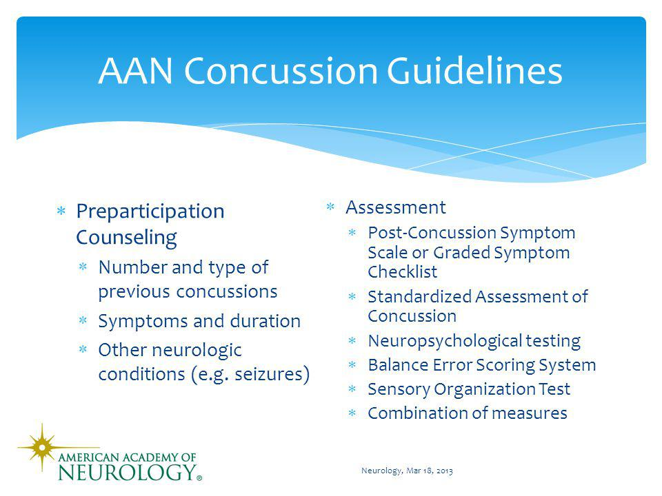 AAN Concussion Guidelines Management of suspected concussion