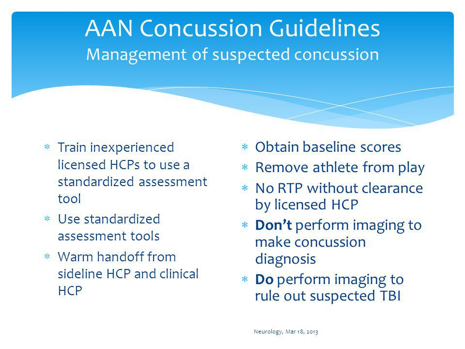 AAN Concussion Guidelines: DIAGNOSED CONCUSSION