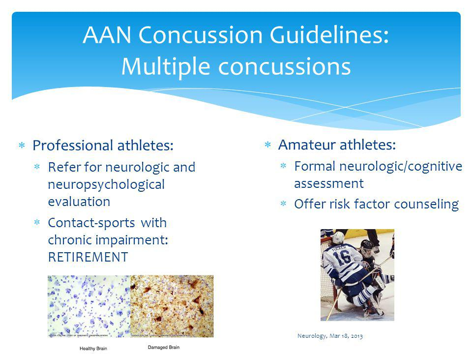 Conclusions Numerous organizations have published guidelines regarding the management of sports-related concussions.